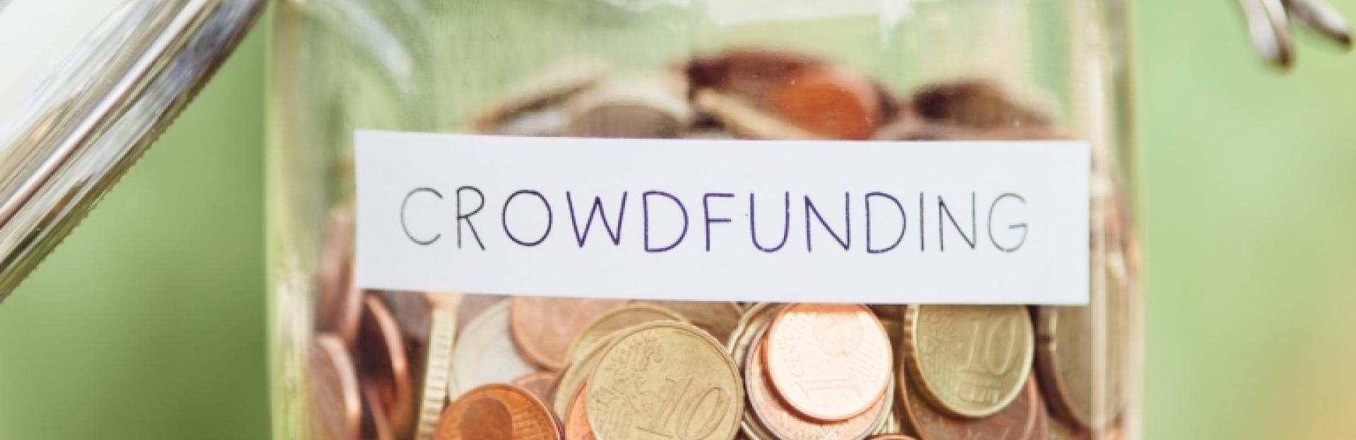 Money jar labelled Crowdfunding
